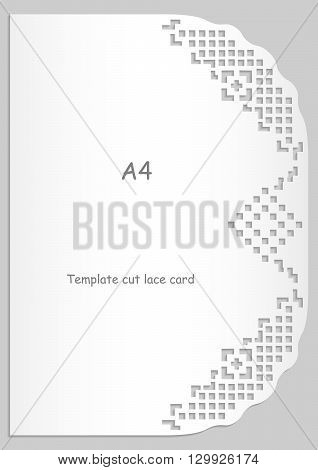 Paper lace greeting card white pattern lace decorations cut-out template template congratulation perforation pattern A4 vector