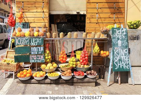 TEL AVIV-YAFO, ISRAEL - APRIL 5, 2016: Fresh juice stall on Old market Yafo, Tel Aviv, Israel.