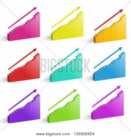 Colorful graphics for business in vector on white background