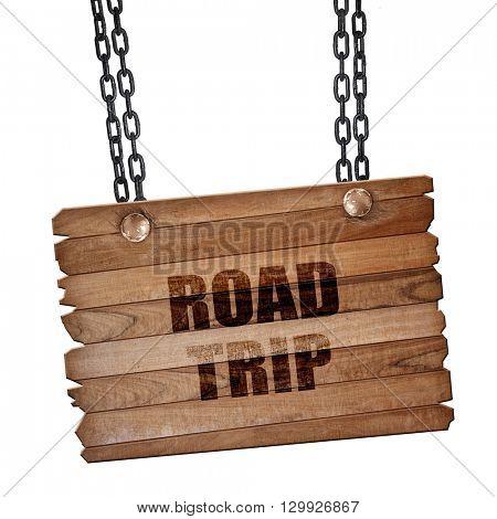 roadtrip, 3D rendering, wooden board on a grunge chain