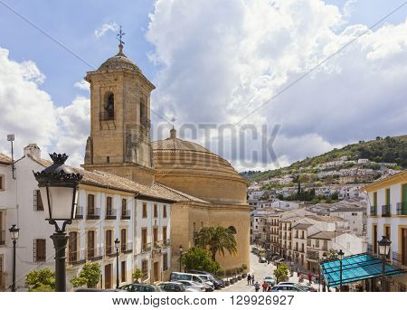 Montefrio, Spain - April 30, 2016: Iglesia de la Encarnacion or Incarnation Church is the only round church in Spain. It was founded in 1782 and inaugurated in 1802.