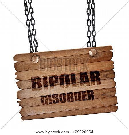Bipolar sign background, 3D rendering, wooden board on a grunge