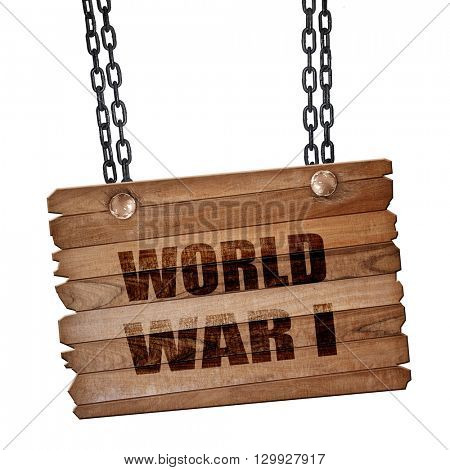World war 1 background, 3D rendering, wooden board on a grunge c