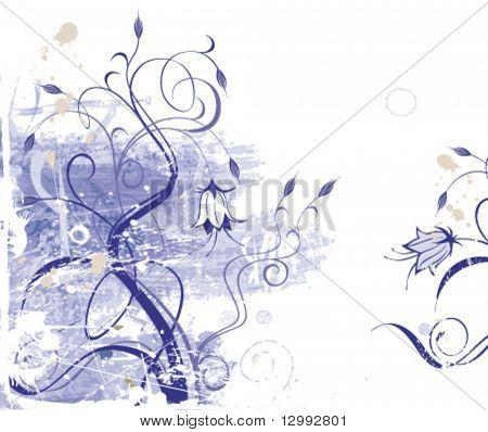 Grunge floral background (vector)