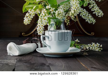 Branches Of Blooming Bird Cherry Tree, Coffee Cup