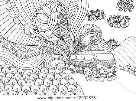 Van line art design for coloring book for adult
