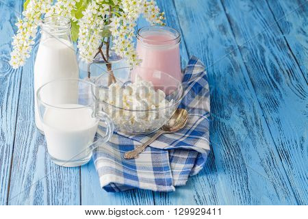 Delicious, Nutritious And Fresh Plain Yogurt And Milk Bottle.