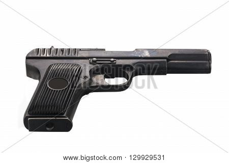 Soviet retro pistol isolated on white background