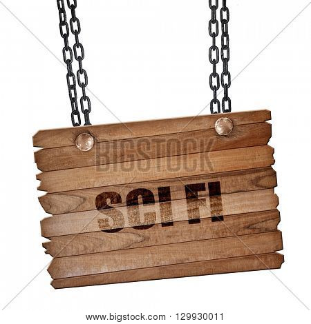 sci fi, 3D rendering, wooden board on a grunge chain