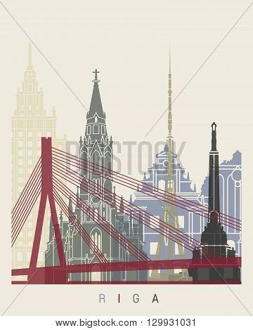 Riga skyline poster in editable vector file