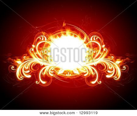 Fiery floral frame