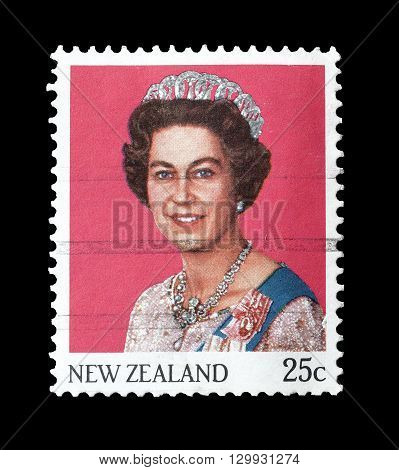 NEW ZEALAND - CIRCA 1985 : Cancelled postage stamp printed by New Zealand, that shows Queen Elizabeth II.