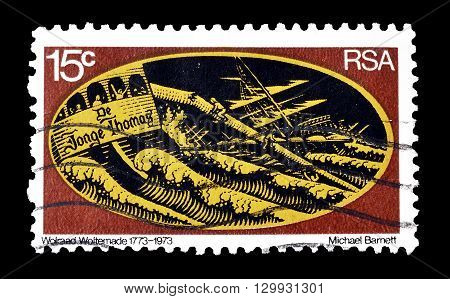 SOUTH AFRICA - CIRCA 1973 : Cancelled postage stamp printed by South Africa, that shows Sailing ship breaking up.
