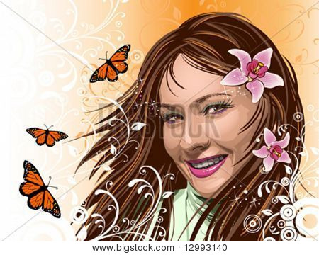 Beautiful girl with orchids and butterflies on orange floral background