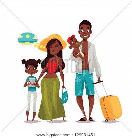 African Family on vacation, cartoon comic illustration of four people on a white background, traveling and vacationing African family with luggage and children, four people