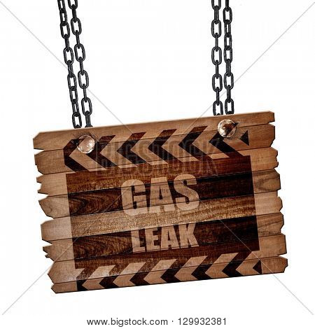 Gas leak background, 3D rendering, wooden board on a grunge chai