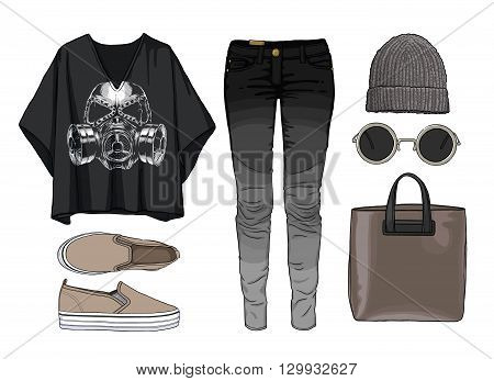 Lady fashion set of autumn, winter season outfit. Illustration stylish and trendy clothing. Denim, slip-on, jeans., hat, bag. Skull
