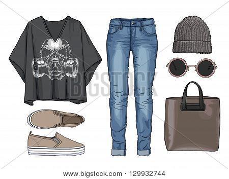 Lady fashion set of autumn, winter season outfit. Illustration stylish and trendy clothing. Denim, slip-on, jeans., hat, bag. Skull