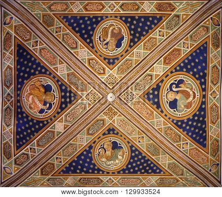 LUCCA, ITALY - JUNE 06, 2015: Fresco painting on the ceiling of the Cathedral of St Martin in Lucca, Italy, on June 06, 2015