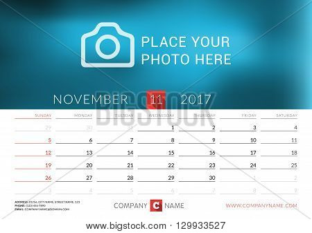 Desk Calendar For 2017 Year. Vector Print Template With Place For Photo. November. Week Starts Sunda
