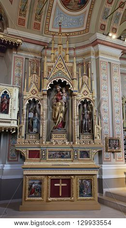 STITAR, CROATIA - AUGUST 27: Altar of Our Lady in the church of Saint Matthew in Stitar, Croatia on August 27, 2015