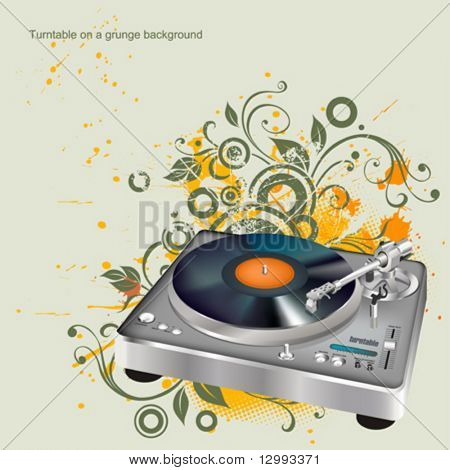 Turntable on a floral background