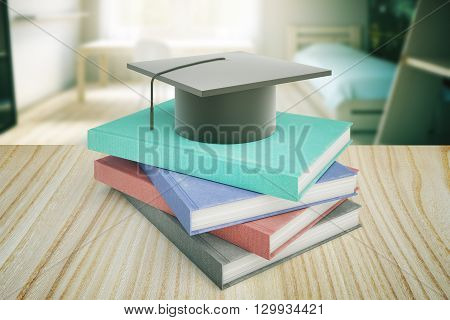 Book and graduation cap on wooden table and blurry bedroom in the background. Education concept. 3D Rendering
