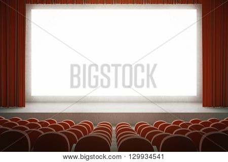 Movie theater with rows of red seats and large blank screen with curtains. Mock up 3D Rendering