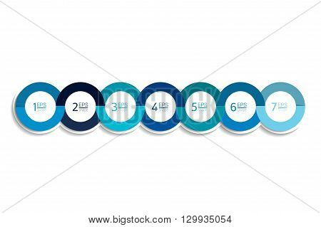 7 business elements banner, template. Seven steps design, chart, infographic, step by step number option, layout. 3D cyrcle style.