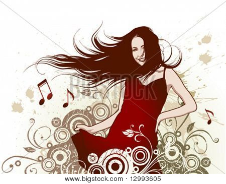 Girl, abstract floral background
