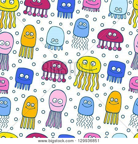 Vector jellyfish cute pattern seamless. Background with cartoon smile sea jellyfish and bubbles.