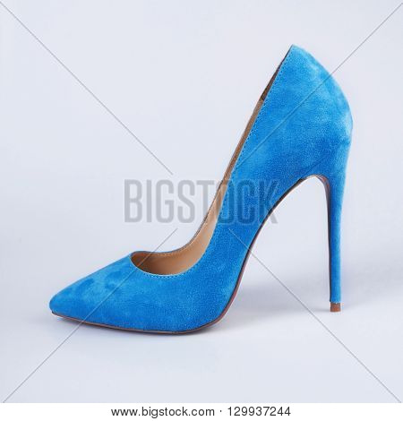 Blue Shoes On High Heels Isolated On White Background