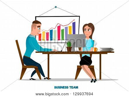 Young and successful business team . Office accessories . Desk with exponential growth graph . Team work at modern office .Vector cartoon illustration isolated on white background .