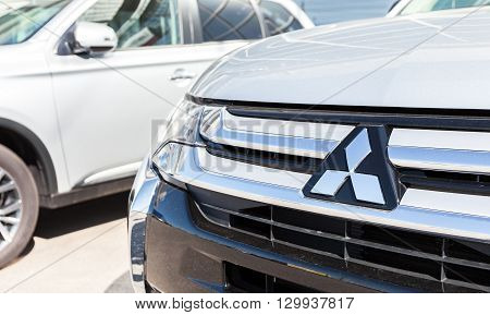 SAMARA RUSSIA - MAY 14 2016: Vehicles Mitsubishi near the office of official dealer. Mitsubishi Motors Corporation is a Japanese automotive manufacturer