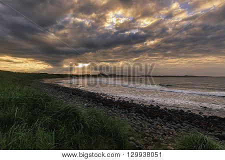 Beautiful Sunset on the northumberland coast UK