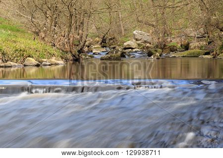 long exposure of water flowing over rocks in a stream