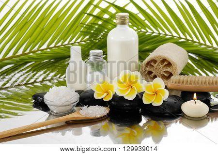 Spa still life with frangipani ,palm