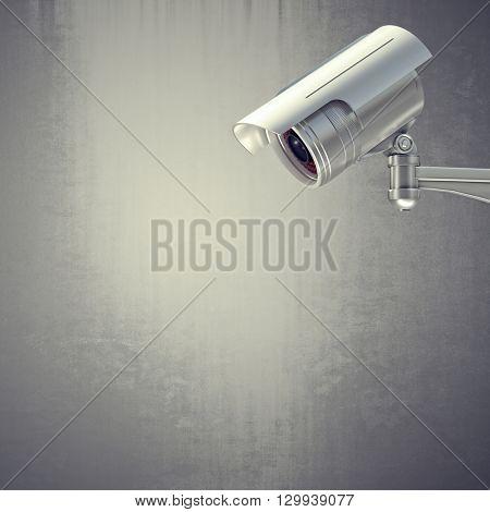 3d image of classic cctv camera