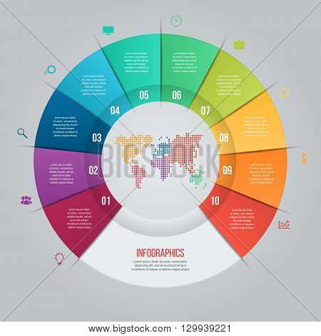 Vector pie chart template for graphs charts diagrams. Business circle infographic concept with 10 options parts steps processes with world map inside.