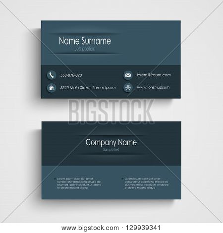 Business card with blue design template vector eps 10