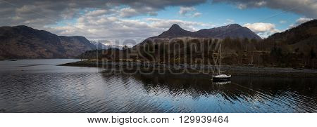 panoramic view loch leven in Glencoe Scotland UK.