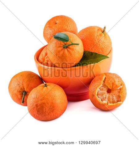 Mandarins tangerines composition in orange cup isolated on white.
