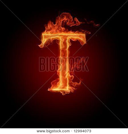 Fiery Font. Buchstabe T