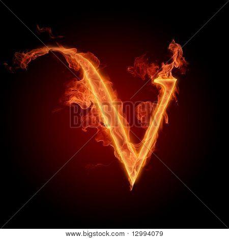 Fuente de fuego. Letra V