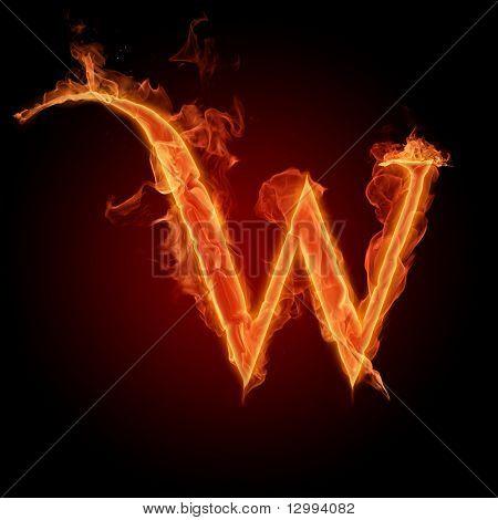 Fiery Font. Buchstabe W