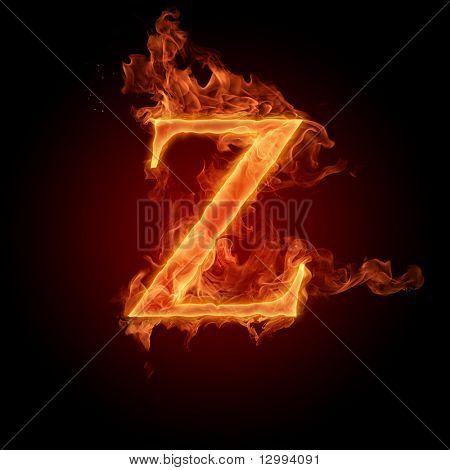 Fiery font. Letter Z