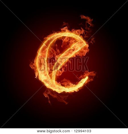 Fiery font. Letter E