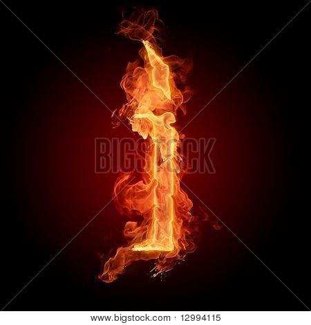 Fiery font. Letter I