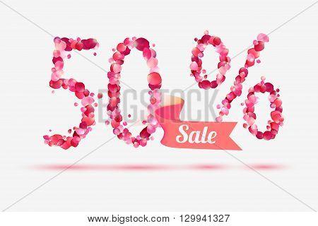 fifty (50) percents sale. Vector digits of pink rose petals