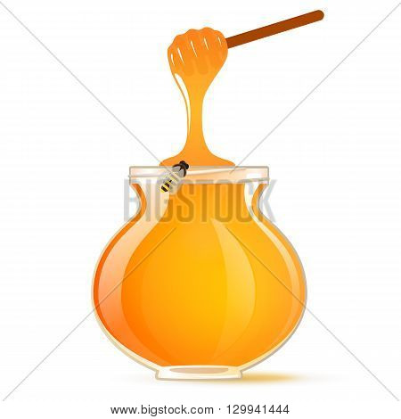 A pot of honey and honey dipper bee. Vector.